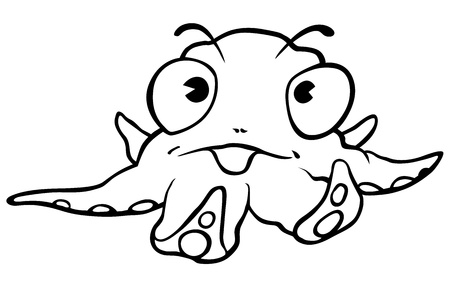 cephalopod: Little Octopus - Black and White Cartoon Illustration, Vector