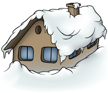 cabin: Snowy Cottage - Cartoon Illustration, Vector
