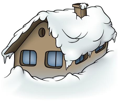 Snowy Cottage - Illustratie van het Beeldverhaal, Vector Stock Illustratie