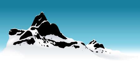wasteland: Snowy Mountain - Background Illustration, Vector