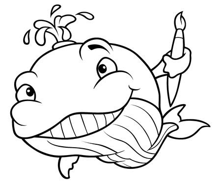 cetacean: Whale Painter - Black and White Cartoon Illustration, Vector