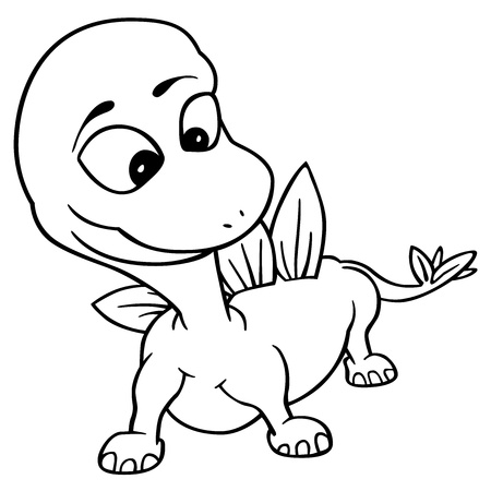 saurian: Little Dragon - Black and White Cartoon Illustration, Vector