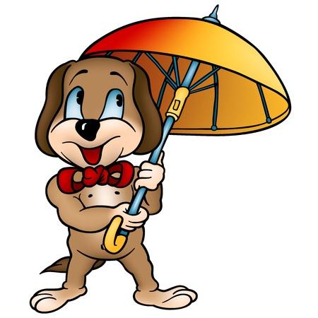 Perro con el paraguas - Ilustración de dibujos animados, vector