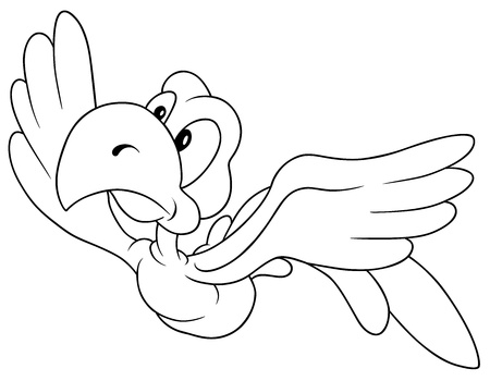 Flying Bird - Black and White Cartoon Illustration, Vector Stock Vector - 12868231