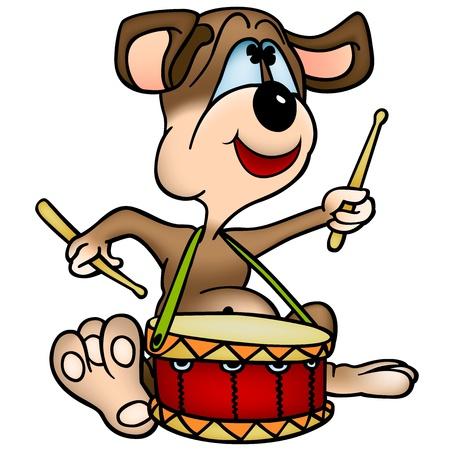 snare: Dog  Drummer - Cartoon Illustration, Vector