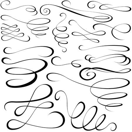 calligraphie chinoise: �l�ments calligraphiques - des �l�ments de conception noirs Illustration