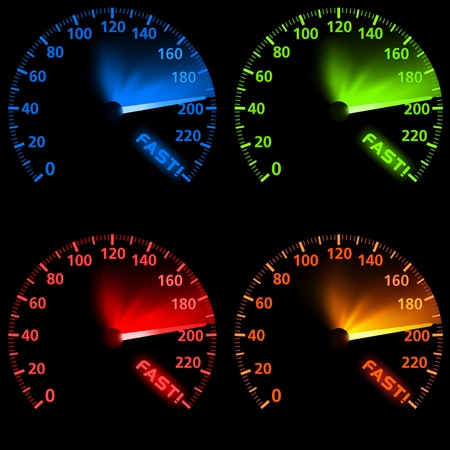 Speedometer Set - Colored Illustration Vector