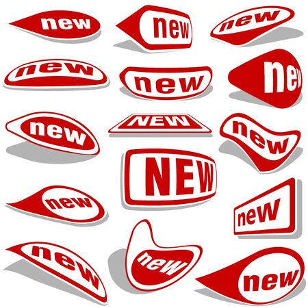 novelty: New Labels - red collection, illustration Vector