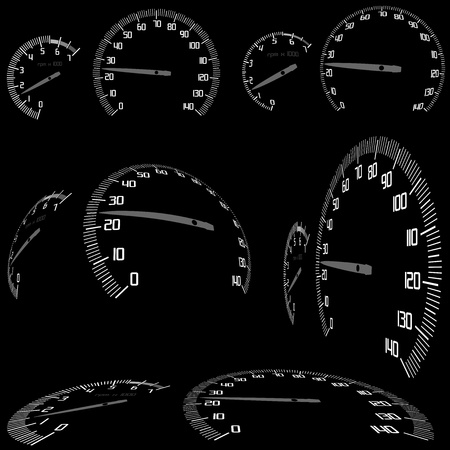 odometer: Speedometer Set - Illustration, Vector Illustration