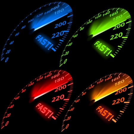 Speedometer Set - Colored Illustration, Vector Vectores