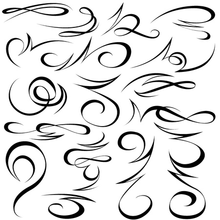 Calligraphic elements - black design elements Vectores