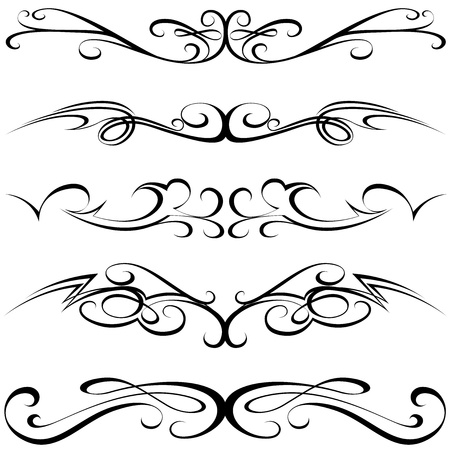 Calligraphic elements - black Tattoo,  illustration