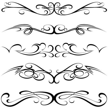 Kalligrafische elementen - zwart Tattoo, illustratie