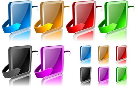 glassy: Glossy Button and Arrow - set of illustration, Vector Illustration