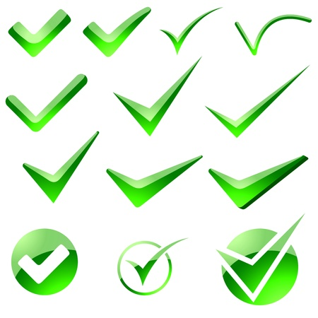 green tick: Glossy Check Mark - Illustration