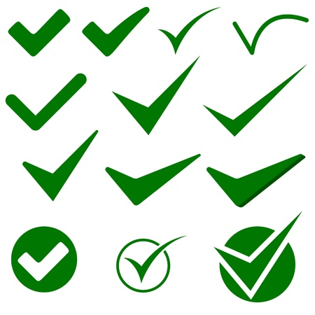 ticks: Check Mark Object Icons - Illustration