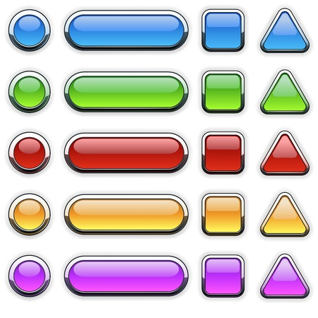 web page elements: Glass Buttons Set - colored illustration