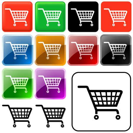 glassy: Shopping Basket Sign - Set of Glass Icons Illustration