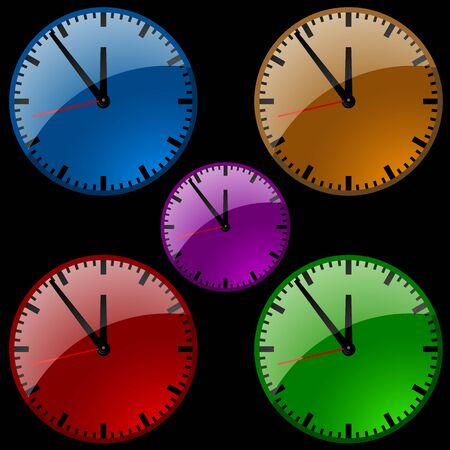 second hand: Glass Clock- colored illustration of a clock, Vector