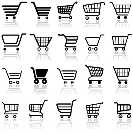 Shopping Cart Sign - Set of Black Icons, Vector Illustration Vector