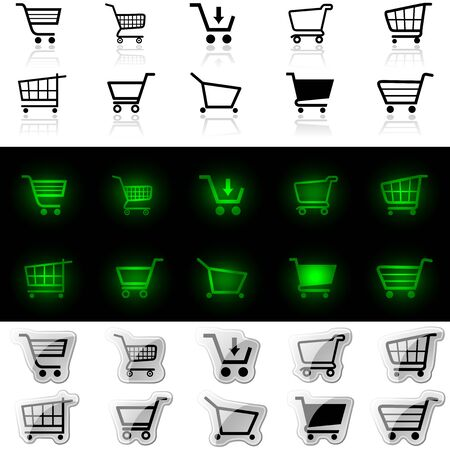Shopping Cart Sign - Set of Different Icons, Vector Illustration Vector