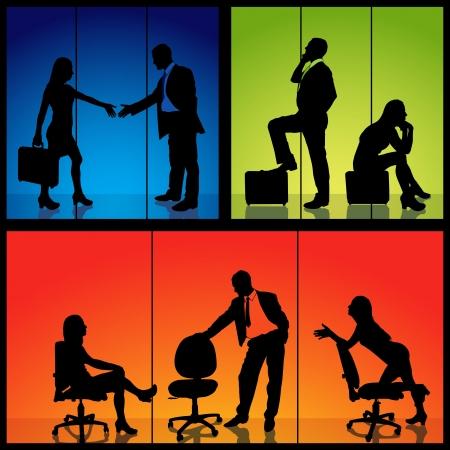 conversaciones: Siluetas de negocios - ilustración detallada Vectores