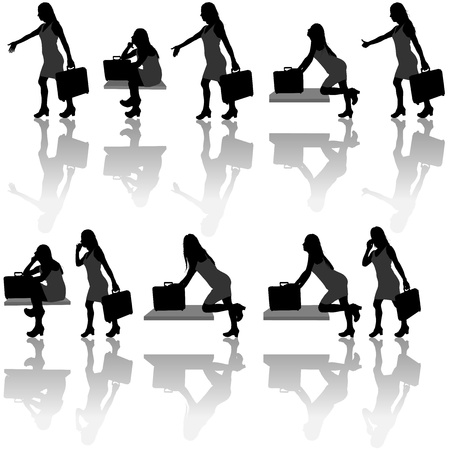calling on phone: Business Woman Silhouettes - Black Illustration