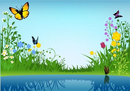 lagoas: Pequeno lago e Borboletas Ilustração