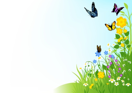 green land: Butterflies and Flowers - Background Illustration Illustration