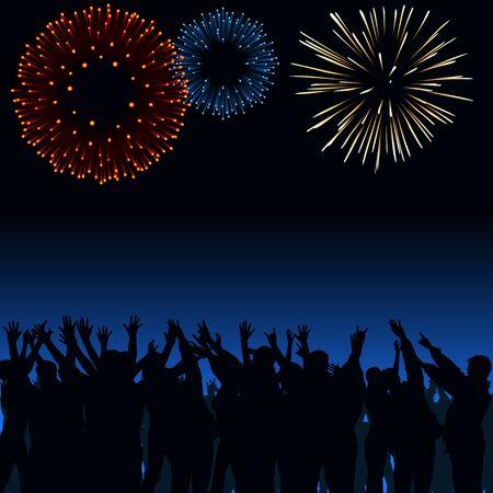 anniversary party: Fuochi d'artificio e Folla Vettoriali