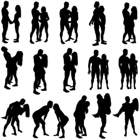 siluetas de enamorados: Amantes Silhouettes