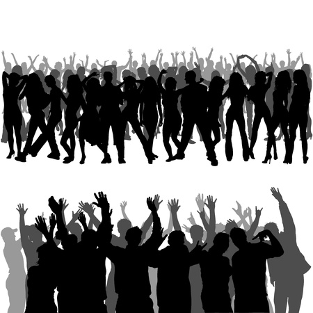 concert audience: Crowd Silhouettes - Foregrounds and Backgrounds Illustration Illustration
