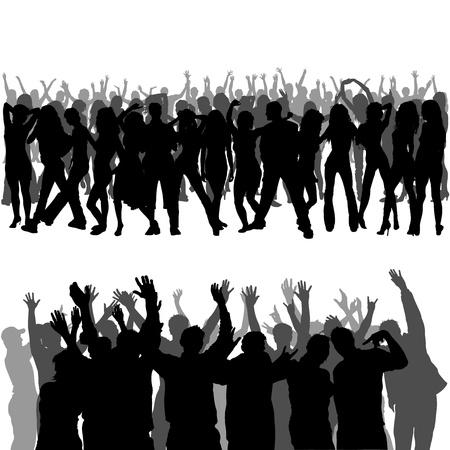 foules: Silhouettes de foule - et met au premier plan Illustration Fonds Illustration
