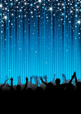 concert audience: People at the Party - Background Illustration, Vector Illustration