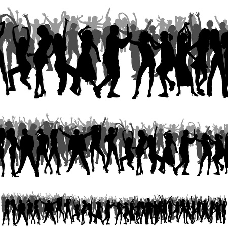 Crowd Silhouettes - Foregrounds and Backgrounds Vector