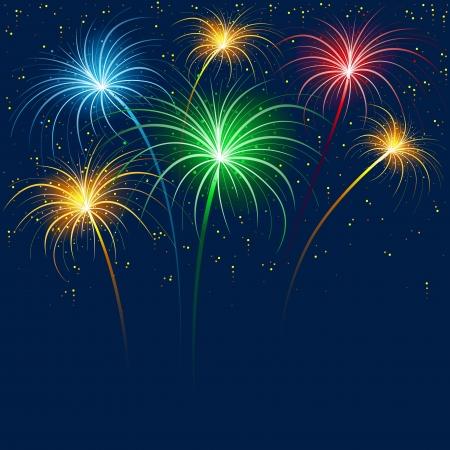 fuegos artificiales: Fuegos artificiales - Fondo de vacaciones Vectores