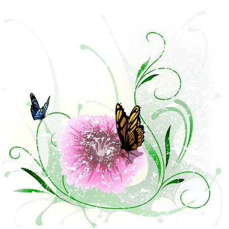 Floral Splash and Butterfly - Watercolor Background Vector