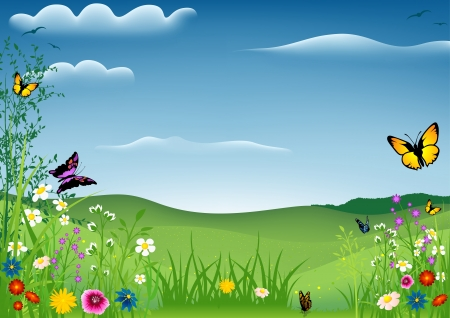 Spring Landscape with Butterflies