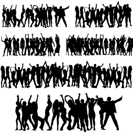 concert crowd: Crowd Silhouettes Illustration