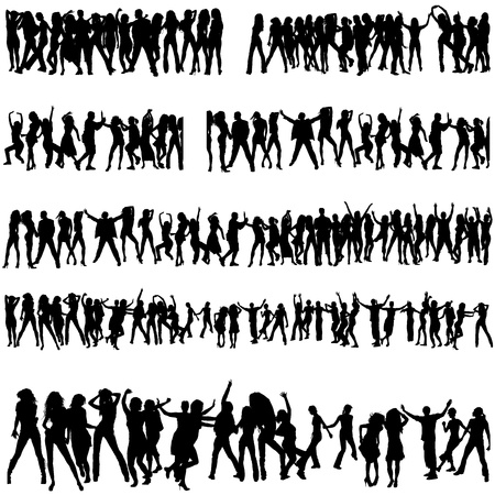 cheer up: Crowd Silhouettes Illustration