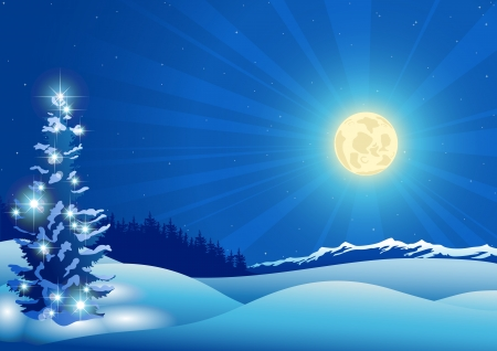 mountain holidays: Blue Christmas Background - Xmas Illustration, Vector