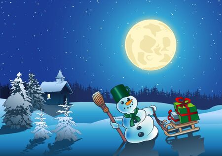 Christmas Night - Idyllic Background Illustration Vector