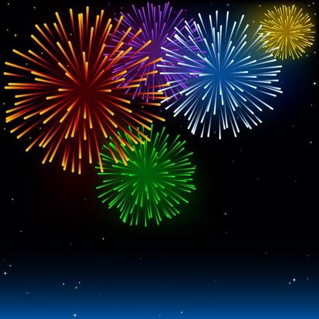 Vuurwerk - Vakantie Achtergrond Illustratie Stock Illustratie