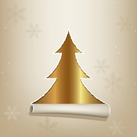 Gold Christmas Tree - Xmas Background Illustration Vector
