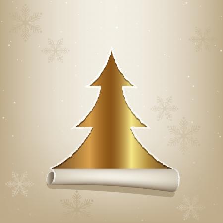 Gouden Kerstboom - Kerstmis Achtergrond Illustratie Stock Illustratie