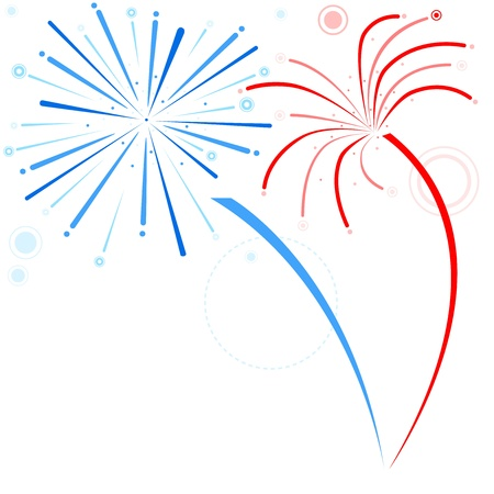 Fireworks - Holiday Background Illustration, Vector Vector
