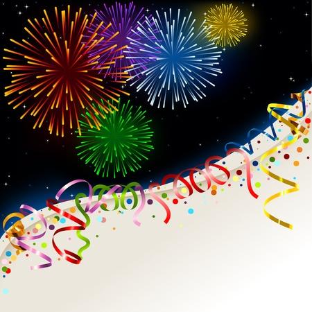 tűzijáték: Celebration kártyát - Üdülési háttér illusztráció