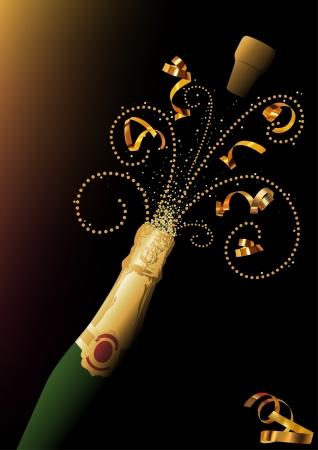 champagne cork: New Years Celebration - background illustration Illustration