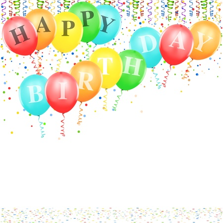 happy birthday balloons: Happy Birthday Balloons - background illustration Illustration