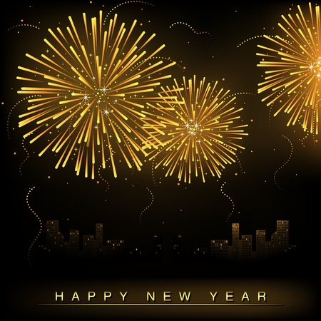 Fireworks and Cityscape Vector